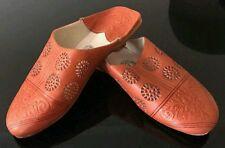 Moroccan womens leather slippers babouche size UK4.5 (37.5) handmade ORANGE