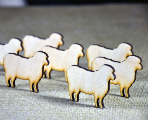 Laser Cut 10 Wooden sheep cut outs