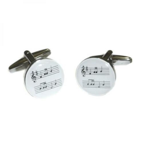 White Music Sheet /& Treble Clef Mens Gift For him Cufflinks