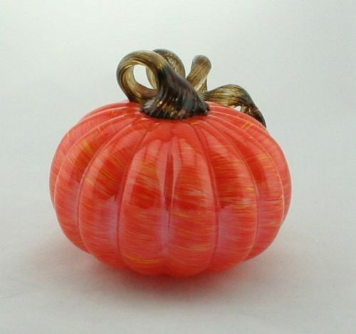 New 5  Hand Blown Glass Art Pumpkin Orange Gelb Gelb Gelb Figurine Sculpture Fall 7243d7