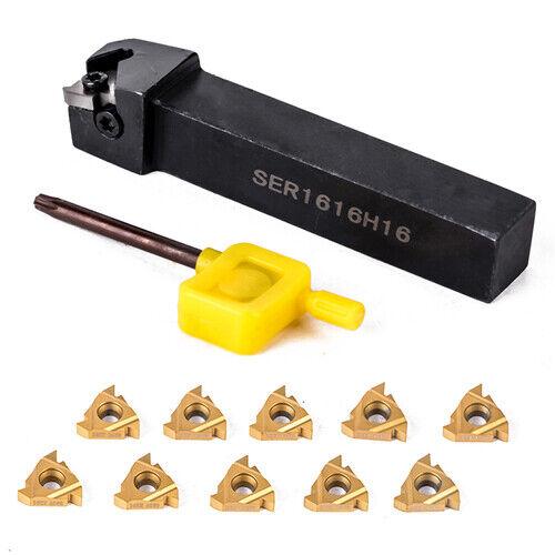10pcs 16ER AG60 Carbide Insert SER1616H16 Turning Tool Boring Holder Wrench UF