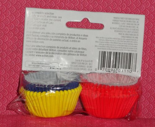 Primary,Red,Yellow,Blue Mini Bake Cups,Cupcake Papers,100 Ct.,Wilton.School