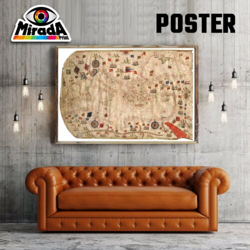 POSTER MAPPA  MAP  PORTOLANO OLD CARTA FOTOGRAFICA PORTI VINTAGE CARTINA