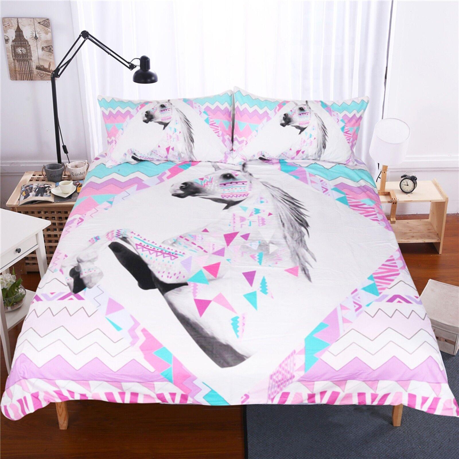 3D Colourot Unicorn 491 Bed Pillowcases Quilt Duvet Cover Set Single Queen CA
