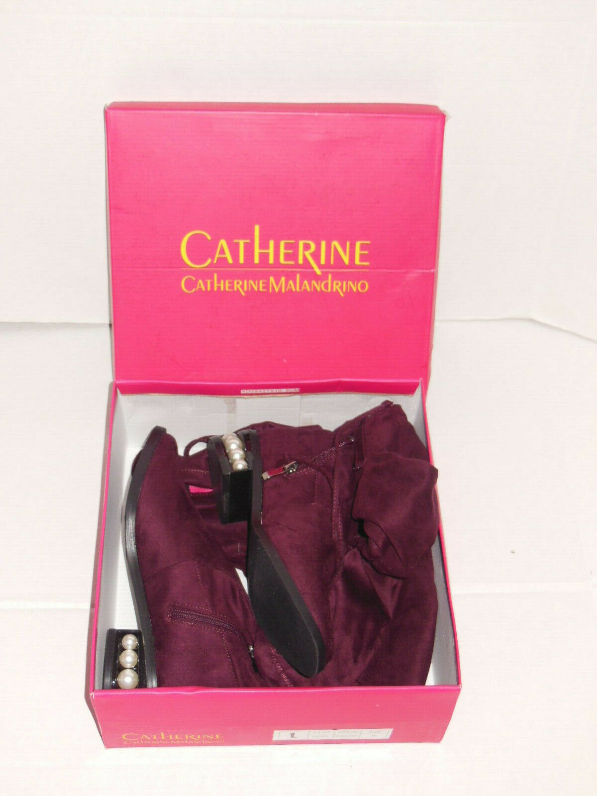 CATHERINE Catherine Malandrino Malandrino Malandrino PERSE Embellished Over-the-Knee Burgundy Boots 7684c9