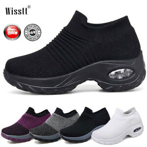 Women-Air-Cushion-Running-Sneakers-Breathable-Mesh-Walking-Slip-On-Shoes-Trainer