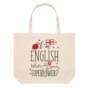 I-039-m-English-What-039-s-Your-Superpower-Large-Beach-Tote-Bag-England-Flag-Shoulder