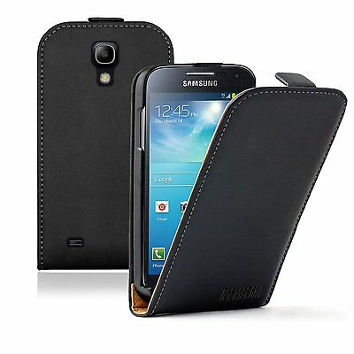 Ultra Slim BLACK Leather case cover Samsung Galaxy S4 Mini ...