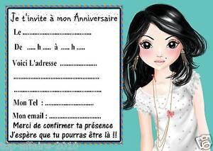 Détails Sur 5 Cartes Invitations Anniversaire Top Model 03