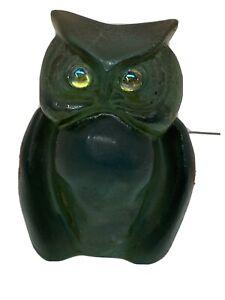 Granoby of California Vintage Lucite Green Aqua Iridescent Eyes RARE Owl