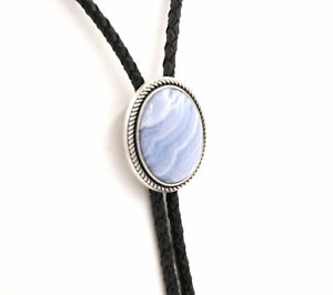 Hand Made Blue Lace Agate Stone Western Cowboy Leather Bolo Neck Tie