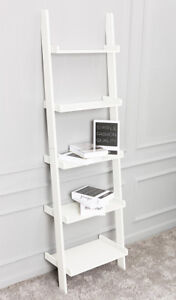 White Leaning Ladder Shelf With Five Tiers   Modern Display Shelving Unit, Bookc by Ebay Seller