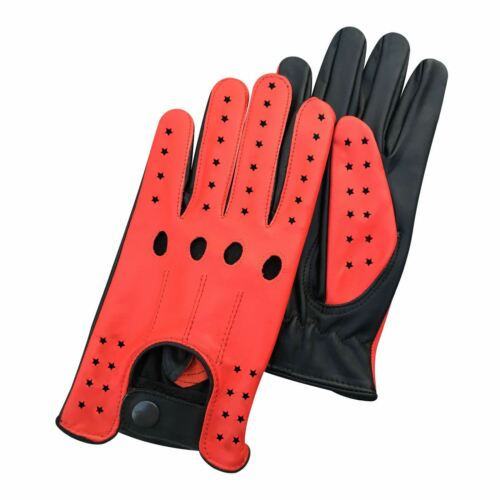 New top quality real soft leather men/'s driving gloves black brown tan stars 507