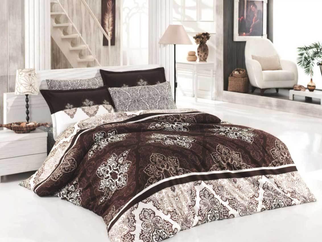 Bettwäsche 200x220 cm Bettgarnitur Bettbezug Baumwolle Kissen 6 tlg RAPSODI BRAU