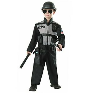 Boys Kids SWAT Officer Tactics Police Force Military Halloween Costume Jumpsuit