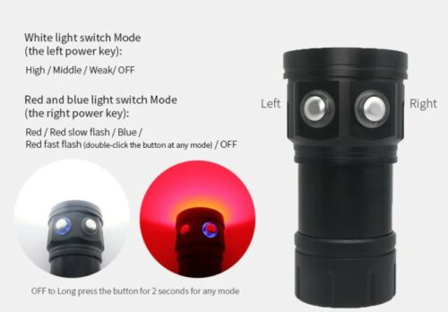 Details about  /LED Diving Flashlight Underwater 80M Photography Video Camera Tactical show original title