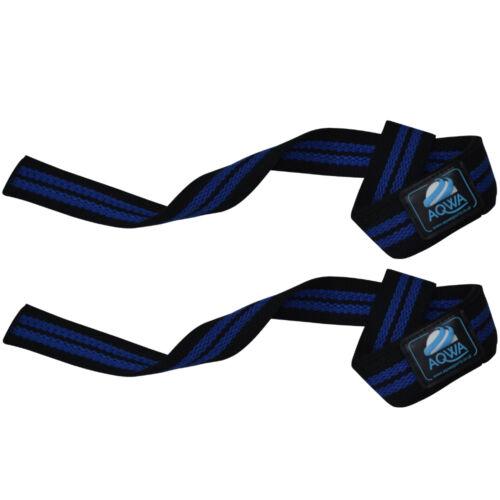 Aqwa Haltérophilie Bar Sangles Gym Entraînement Puissance Poignet Support Poignée Bleu