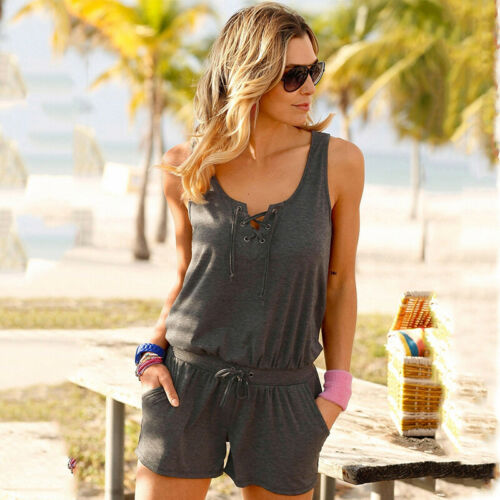 Womens Holiday Summer Mini Jumpsuit Playsuit Rompers Casual Beach Shorts Dress