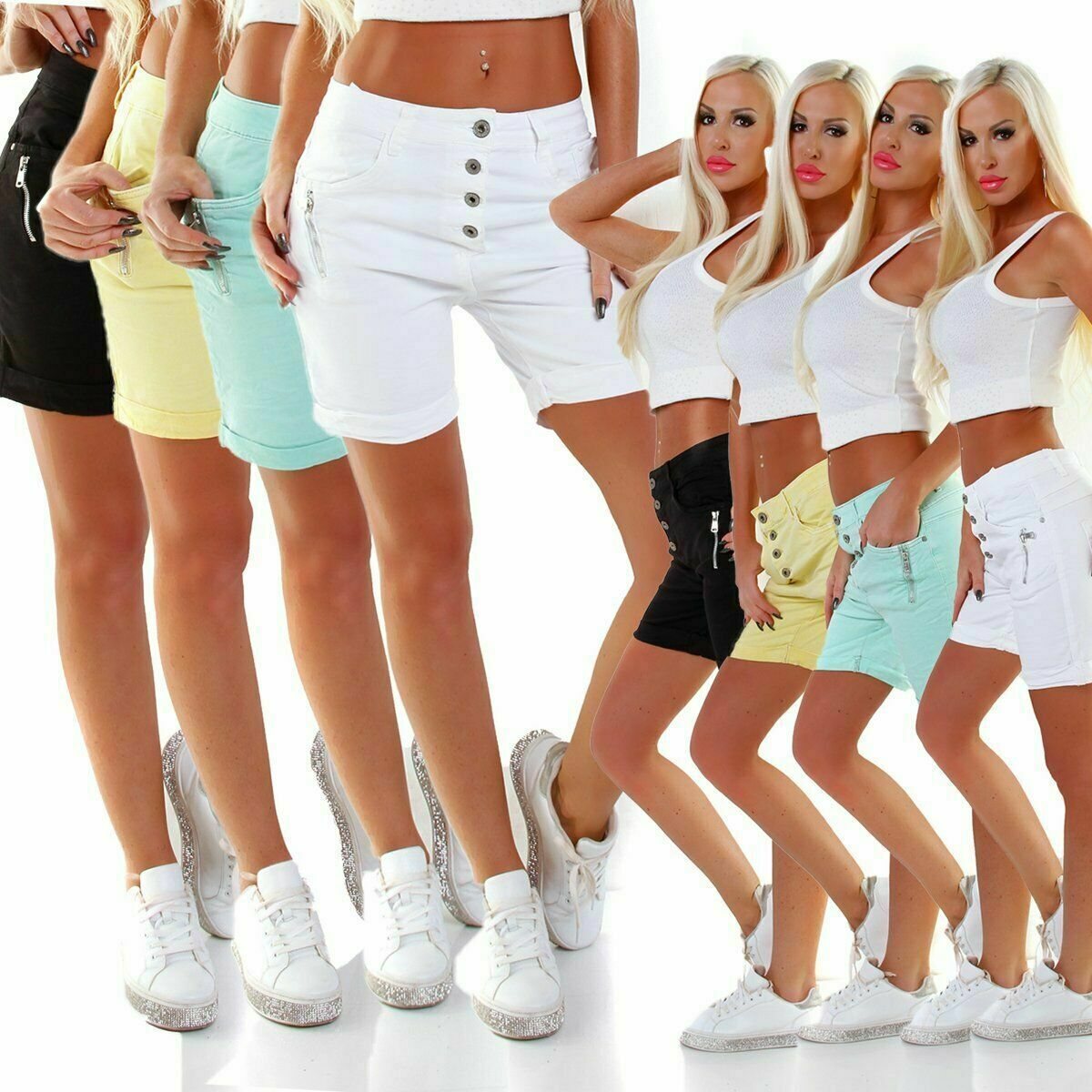 5056 Easy Damen Safarie Shorts Bermuda Hose Boyfriend Knopfleiste Regularfit