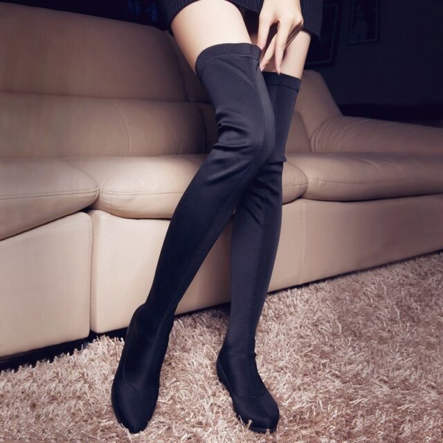 01 Womens Sexy Stretch pull on over The knee Boots thigh high Boots Riding Shoe