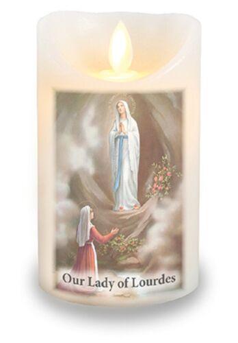 Dame de Lourdes Prières bougie vanille parfumée DEL réaliste clignotante flamme