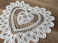 14 Inch White Heart Shape Battenburg Lace Vintage Cotton Doilies Set Of 6