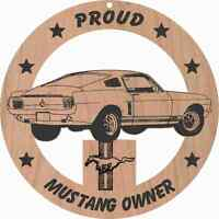 1967 Ford Mustang Fastback Wood Ornament Engraved