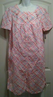 SECRET TREASURES Womens Sleepwear Zip Front Breakfast Gown Pink Sz Large 12-14
