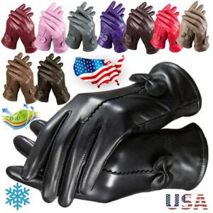 US-Gloves-Women-039-s-Genuine-Lambskin-Leather-Solid-Winter-Warm-Driving-Soft-Lining