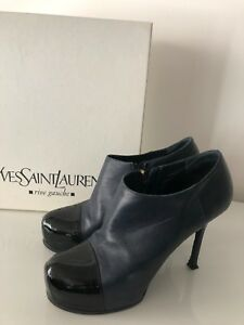 76f427de689 YSL Womens Boots Size 38, 8 Black/Navy Leather Patent Stiletto Ankle ...