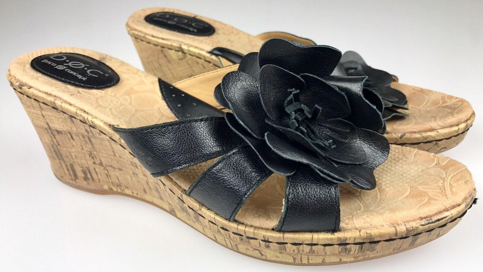 BOC Clementine BORN CONCEPT Women's Cork Wedge Sandals Heels Clementine BOC Black Flower 9 40.5 1af96c