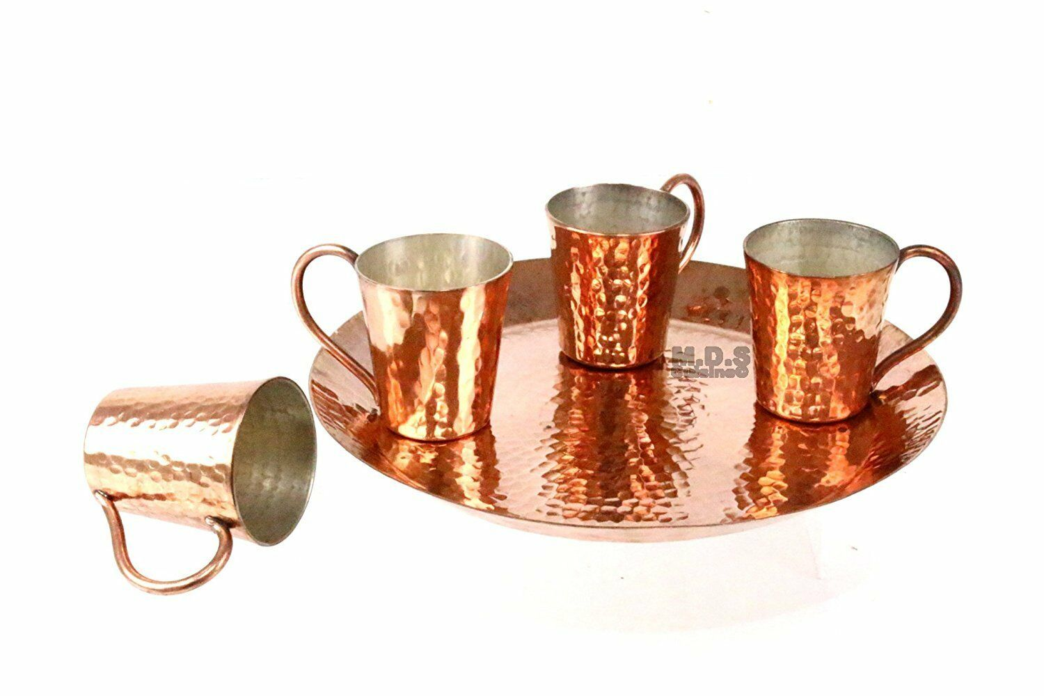 Shot Glass 100% Pure Hammerot Copper Five Piece Set with Plate Mescalero...