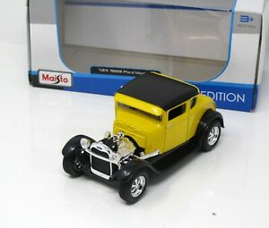 Modell-Auto-1-24-Ford-Model-A-1929-Hot-Rod-gelb-Maisto-31201