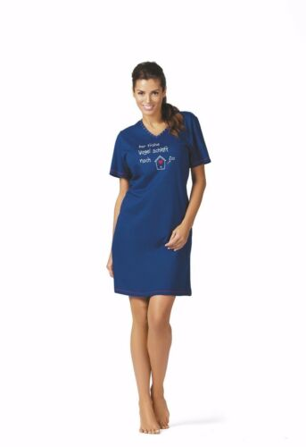 Day Nachthemd Bigshirt Kurzarm Single Jersey blau NEU Comtessa Night