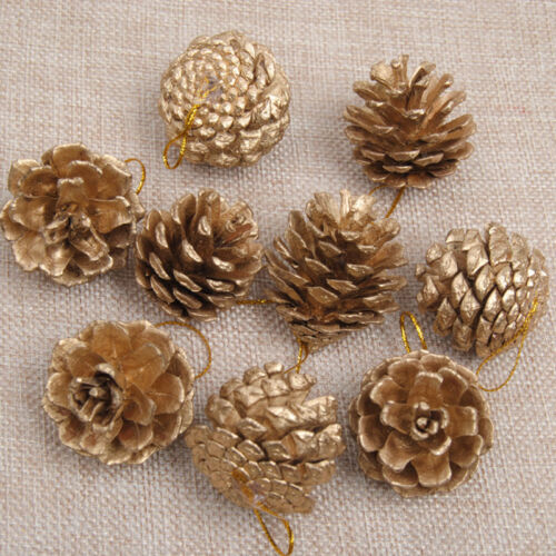 9X Christmas Gold//Silver Pine Cones Baubles Xmas Tree Decorations Ornament Decor
