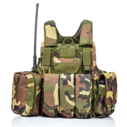 Tactical  Molle Combat Assault Plate Carrier Vest 7 Modular Pouches HEAVY DUTY