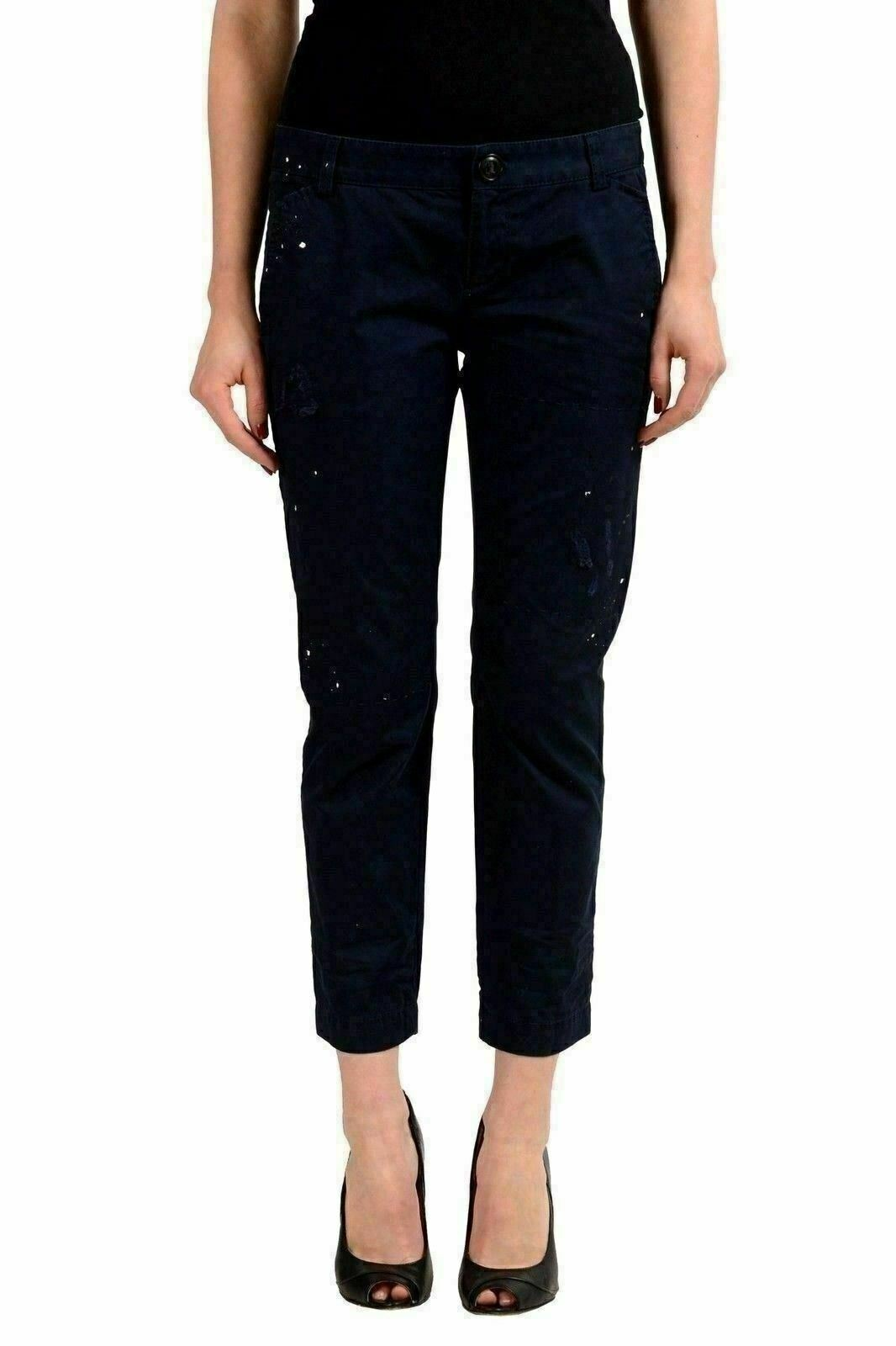 Dsquared2 Navy Distressed Women's Cropped Casual Pants US XS IT 38