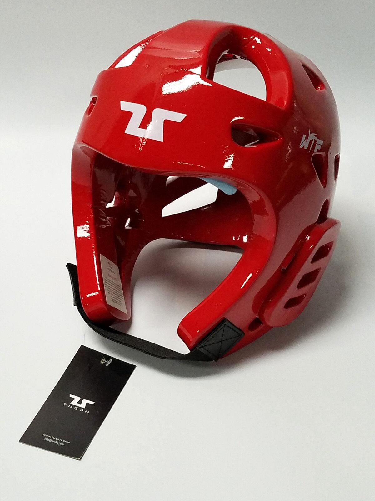 Tusah Taekwondo TKD Red Head Guard Predector WTF Approved