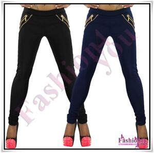 Sexy-Ladies-Skinny-Treggings-Women-039-s-Trousers-Casual-Pants-Size-8-10-12-14-16-UK