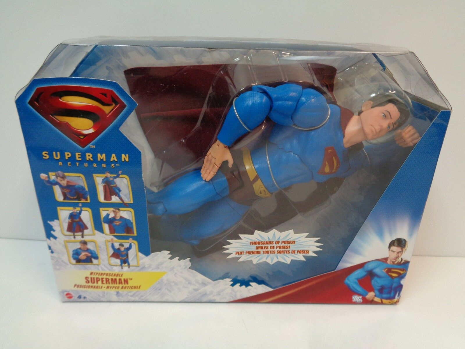 Dc comics hyperposeable superman, superman returns mib 2006 mattel