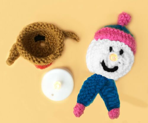 Knitting Pattern-Noël Bonhomme de neige//Robin Tea Light Holder pendaison décoration