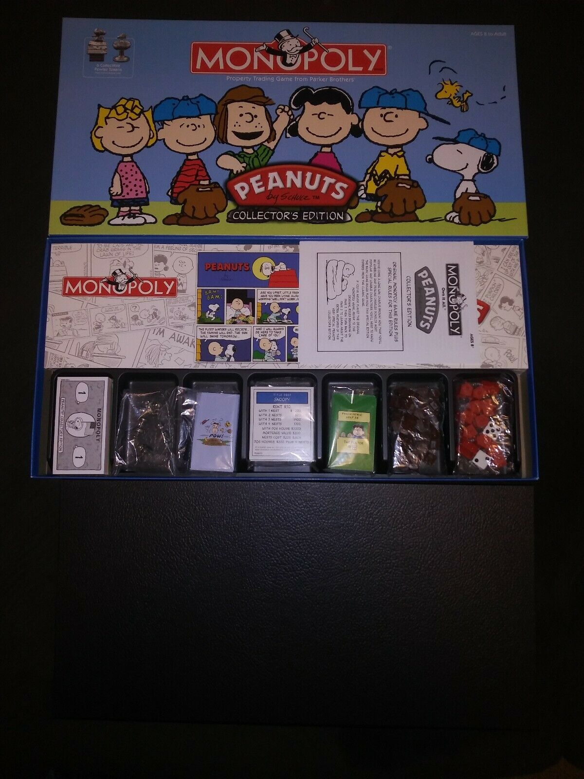 -SEALED COMPONENTS OPEN BOX- Peanuts Monopoly Collector's Edition