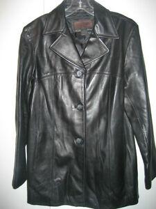 55b1d3e9a Details about Siena Studio 100% Leather Long Black Coat Jacket Size Large  NWT