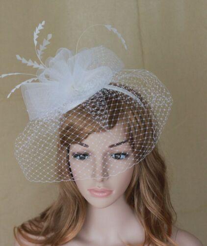New Church Derby Cocktail Wedding Fascinator Hat  w Headband w Veil White
