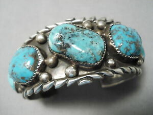 SUPERLATIVE-VINTAGE-NAVAJO-PILOT-MOUNTAIN-TURQUOISE-STERLING-SILVER-BRACELET