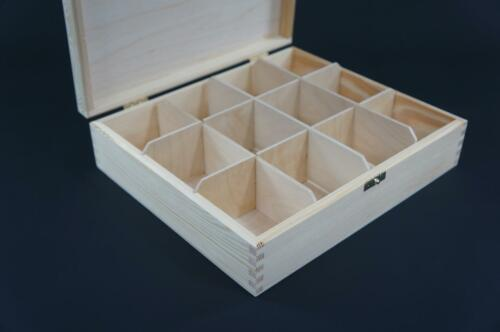 1x Plain Wooden Tea Box Tea Caddy Kitchen Chest 12 Compartments Storage H12