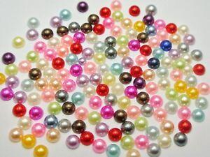 1000-Mixed-Color-Half-Pearl-Bead-6mm-Flat-Back-Gem-Cabachons-Scrapbook