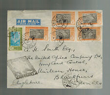 1937 Air France First Flight Cover FFC Abidjan Ivory Coast to England