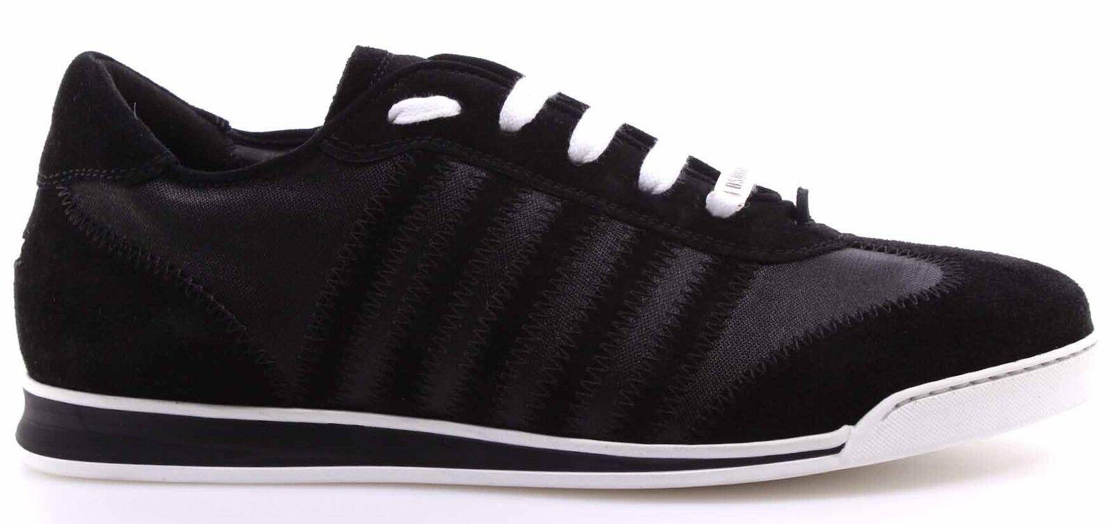 Men's Shoes Sneakers DSQUARED2 New Runner Nylon Velour Nero Black Made Italy New