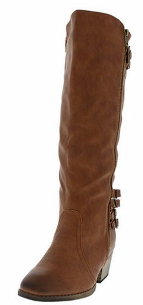 CHASE & CHLOE VEGAN LEATHER  COGNAC BROWN BOOTS -  SIZE 10